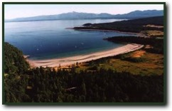 Airial view of Hornby Island Canada
